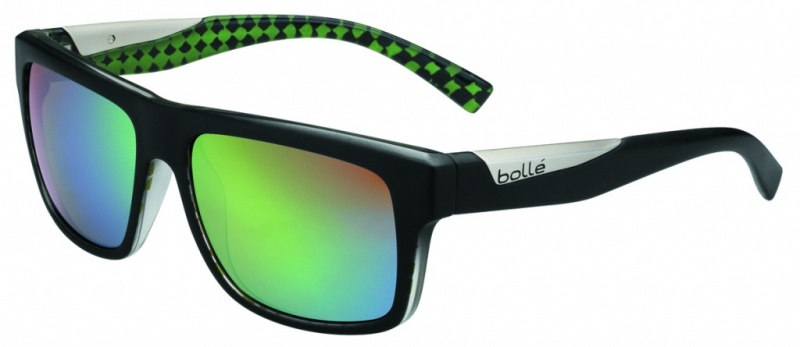 Bolle Clint Matte Black Lime Sunglasses with Polarised Brown Emerald
