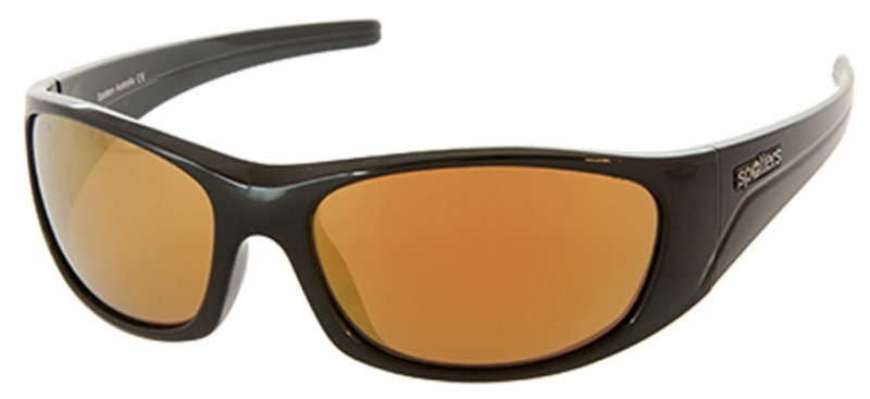 Spotters Alpha Matt Black Sunglasses Glass Gold Mirror Polarised Lenses