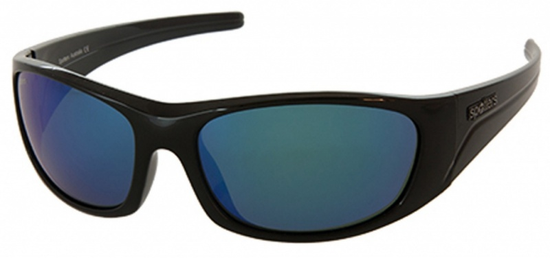 Spotters Alpha Black, Glass Blue Mirror Polarised Lenses Mens Sunglasses