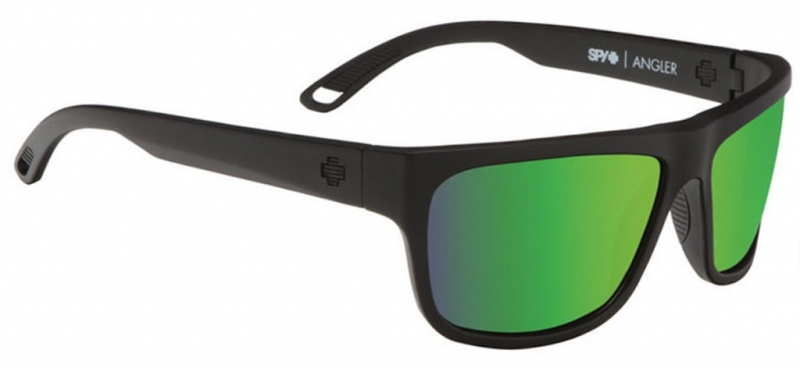 Spy Angler Sunglasses Matte black Happy Green Spectra Polar