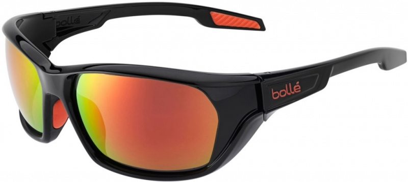 Bolle Aravis Shiny Black Sunglasses with Polarised TNS Fire Lenses