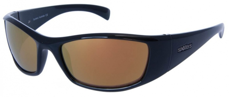 Spotters Sunnies Artic + Black, Gold Mirror