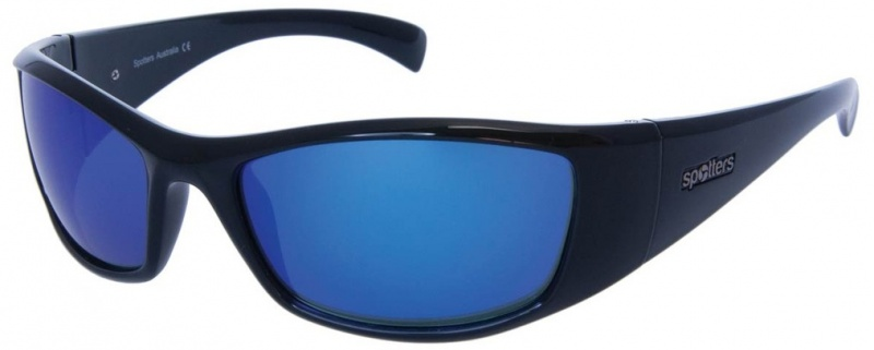 Spotters Sunnies Black Blue Mirror, Artic +