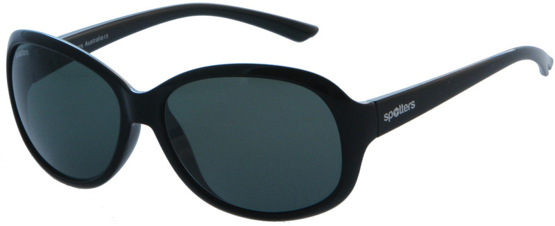 Spotters Ava Sunglasses Gloss Black, CR39 Grey Polarised Lenses