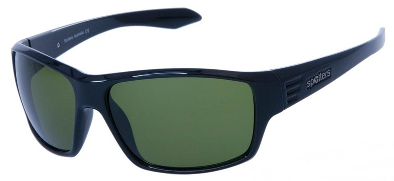 Spotters Blaze Polarised Sunglasses Gloss Black, Emerald
