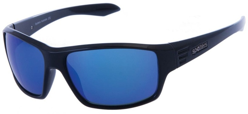 Spotters Mens Polarised Sunglasses Gloss Black, Blue mirror
