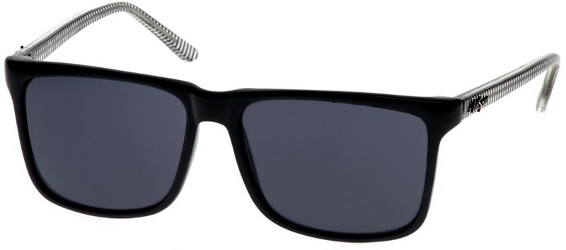 Le Specs Cosmic String Sunnies Black & Crystal Stripe Temples, Smoke Mono Lens