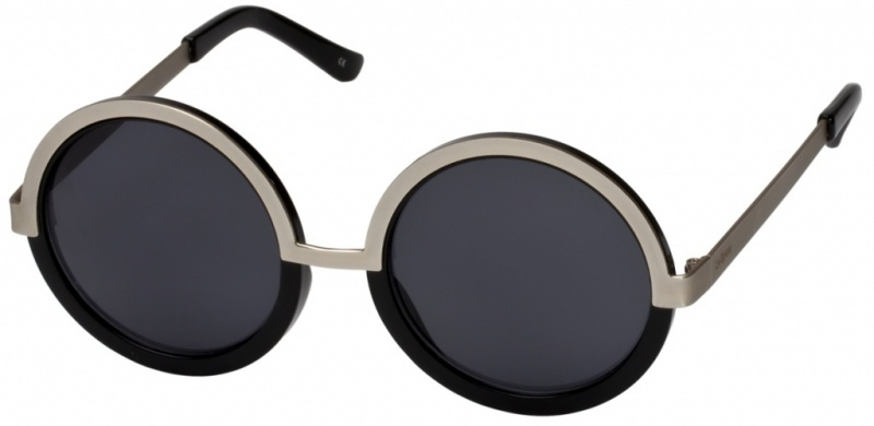 Le Specs Sunnies Ding A Ling Black & Gold, Smoke Mono Lenses
