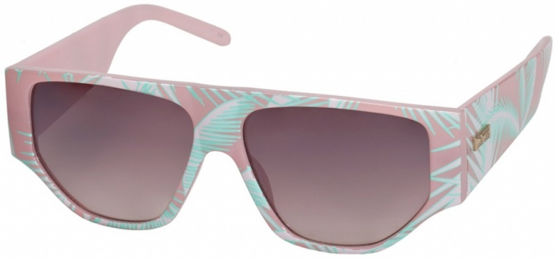 Le Specs Sunnies Get Leied Pink Palm Print, Warm Smoke Grad Mirror Lenses