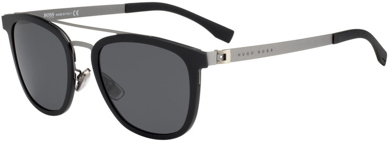 Boss By Hugo Boss 0838/S Black and Silver, Grey Blue Lenses