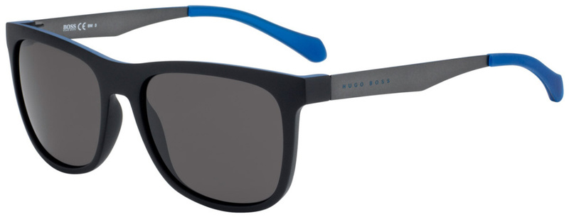 Boss By Hugo Boss 0868/S Matte Black and Blue, Brown Grey Lenses