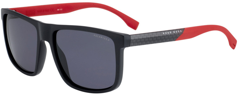 Boss By Hugo Boss 0879/S Matte Black and Red, Grey Polarised Lenses