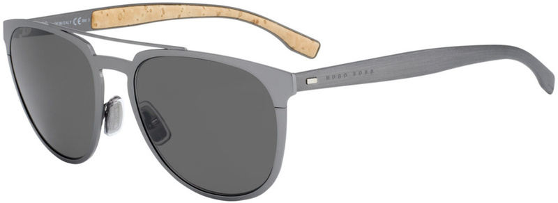 Boss By Hugo Boss 0882/S Matte Silver, Brown Grey Lenses