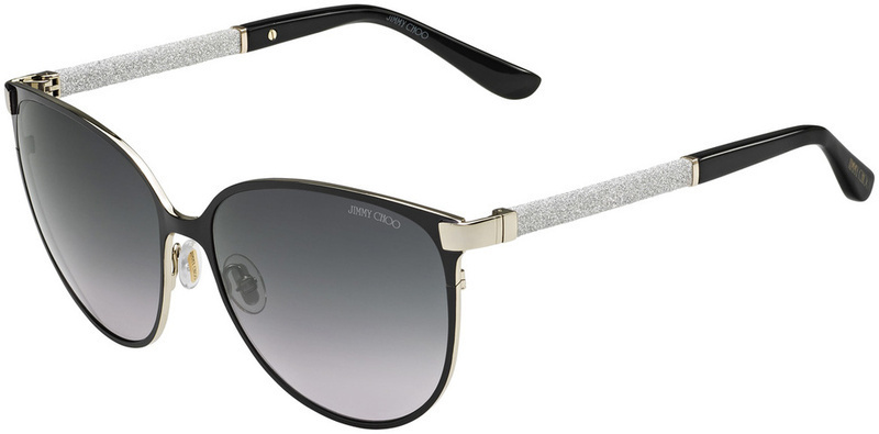 Jimmy Choo Posie Sunglasses Black and Gold Glitter, Grey Gradient