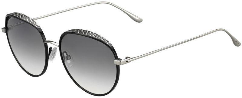 Jimmy Choo Ello Sunglasses Black and Silver, Grey Gradient Lenses