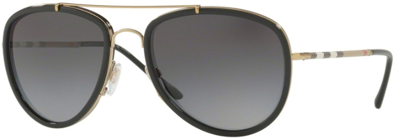 Burberry BE3090Q Brushed Light Gold and Black, Grey Gradient Polarised