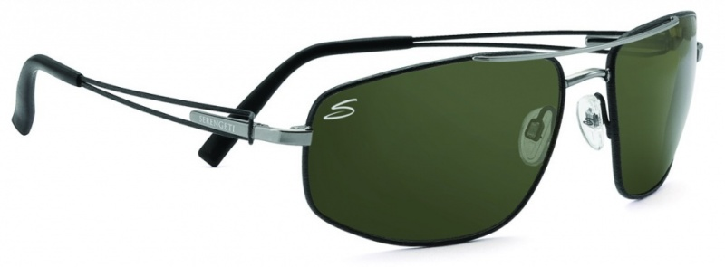 Serengeti Eyewear Augusto Shiny Gunmetal & Black Tannery, 555nm Polarised Lenses