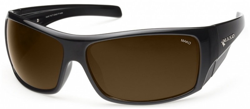 Mako Indestructible Shiny Black with Brown Lenses