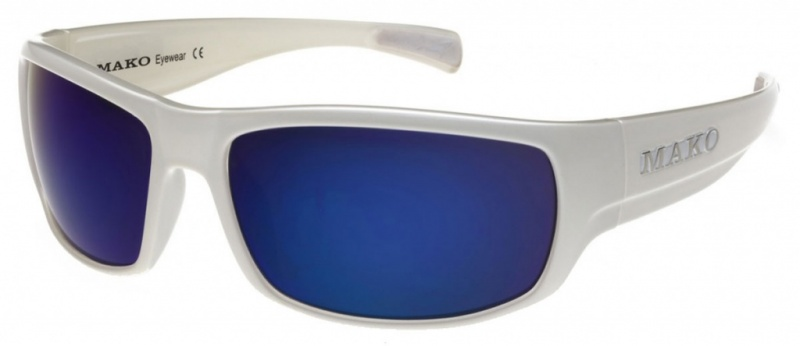 Mako Escape White Clear with Glass Blue Mirror Lenses