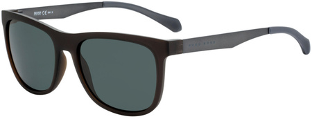 Boss By Hugo Boss 0868/S Matte Brown and Silver, Grey Green Lenses