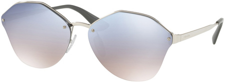 Prada PR 64TS Sunglasses Silver, Grey Light Blue, Silver Mirror