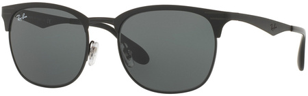 Ray Ban 3538 Sunglasses Matte Black, Shiny Black/Dark Grey Lenses