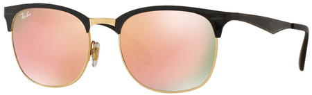 Ray Ban 3538 Sunglasses Shiny Black, Pink Mirror Lenses