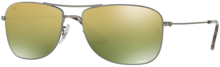 Ray Ban 3543 Sunglasses Matte Gunmetal, Green Gold Mirror Polar