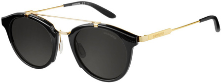 Carrera Sunnies 126/S Shiny Black and Gold, Brown Grey Lenses