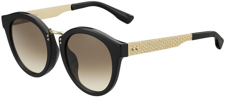 Jimmy Choo Pepy Sunglasses Black and Gold, Brown Gradient Lenses
