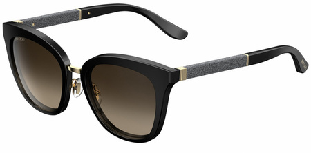 Jimmy Choo Fabry Sunglasses Black and Glitter, Brown Gradient Lenses