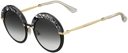 Jimmy Choo Gotha Sunglasses Black and Gold, Dark Grey Gradient