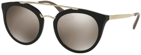 Prada PR 23SS Sunglasses Black, Light Brown Gold Mirror Lenses