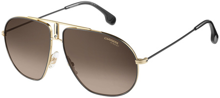 Carrera Sunnies Bound Black and Gold, Brown Gradient Lenses