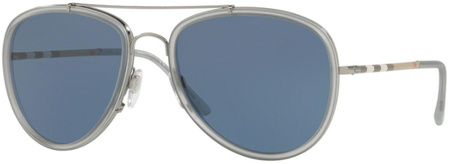 Burberry BE3090Q Gunmetal and Matte Grey, Blue Lenses