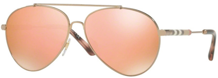 Burberry BE3092Q Sunnies Gold/Brown Rose Gold Mirror