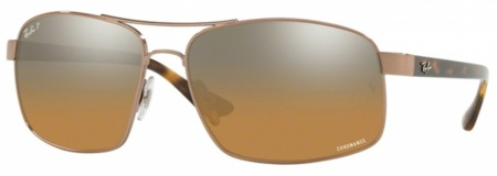 Shiny Light Brown/Brown to Grey Gradient Mirror Polarised Lenses