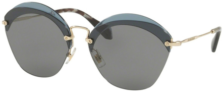 Miu Miu Sunglasses 53SS Transparent Blue, Grey Lenses