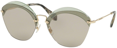 Miu Miu Sunglasses 53SS Transparent Green, Light Brown Lenses