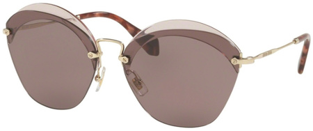Miu Miu Sunglasses 53SS Transparent Red, Purple Brown Lenses