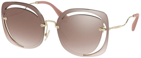 Miu Miu Sunglasses 54SS Brown, Brown Silver Mirror Lenses