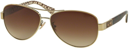 Coach Sunglasses 7047 Gold Dark Tort Sand, Khaki Gradient Lenses