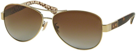 Coach Sunglasses 7047 Gold Dark Tort Sand, Brown Blue Gradient Polarised