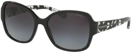 Coach Sunglasses 8166 Black Crystal Mosaic, Grey Gradient Lenses