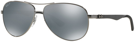 Shiny Gunmetal/Blue Silver Mirror Polarised Lenses 61 Eye Size