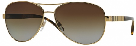 Burberry BE3080 Gold Tort, Brown Gradient Polarised