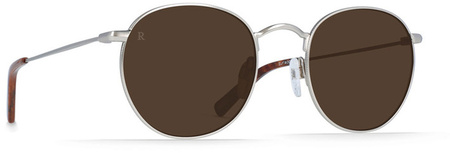 Raen Benson 51 Sunglasses Silver,Burlwood, Brown Lenses