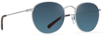 Raen Benson 51 Sunglasses Silver and Matte Rootbeer, Smoke Blue Mirror