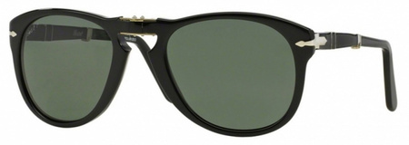 Persol 0714 Sunglasses Black, Green Polarised Lenses