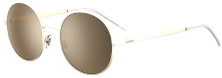 Matte White and Gold/Gold Mirror Lenses